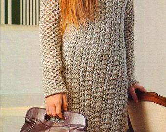 PATTERN crochet dress long sleeve long warm srping fall women