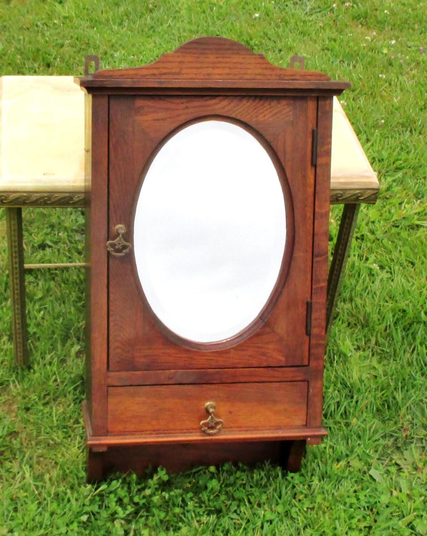antique wood medicine bathroom wall cabinet oval beveled. Black Bedroom Furniture Sets. Home Design Ideas