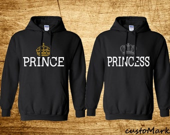Prince & Princess Hoodies Cute Sweat Sweashirts Lovely Couples Matching Hoodies