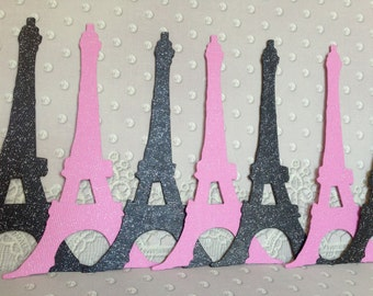 Set of 16 glitter Eiffel Tower die cut (Perfect for wedding/bridal shower/birthday or any occasion...)