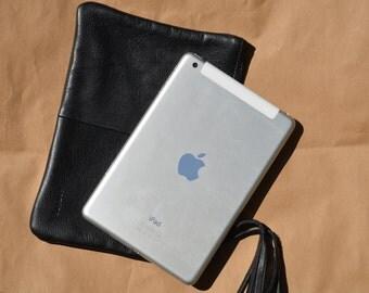 boho zipper pouch, zipper leather pouch, small travel bag, makeup storage, boho leather clutch, Blue leather clutch, Clutch Leather, kotyto
