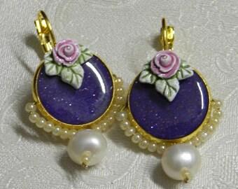 Purple dangle earrings. dark purple earrings. rose earrings. pearl earrings. romantic earrings. vintage earrings. gold leverback earrings.