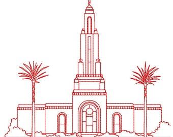 redlands california lds temple redwork embroidery design digital instant download file