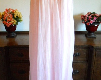 Size Medium ~ Vintage 60's Nightgown ~ Sissy Strawberry Pink Double Nylon Chiffon Long Nightgown ~ VLV ~ Pin Up Girl ~ Vintage Lingerie~
