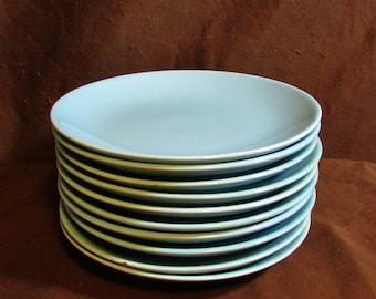 Dessert Plates, Set of Ten, Robins Egg Blue, 1960's