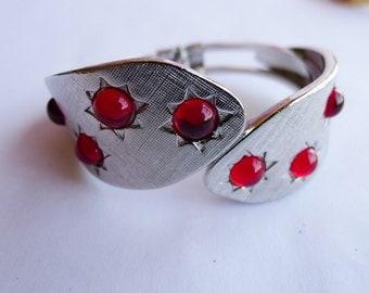 The Moonlite, Red Vintage Inspired Cuff Bracelet