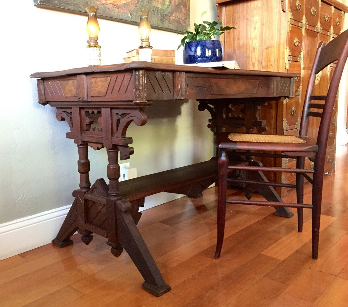 Antique Solid Wood Table Writing Desk