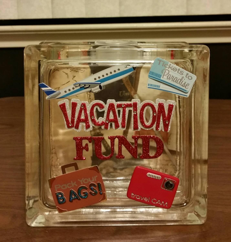 Vacation fund glass block piggy bank travel fund for Travel fund piggy bank