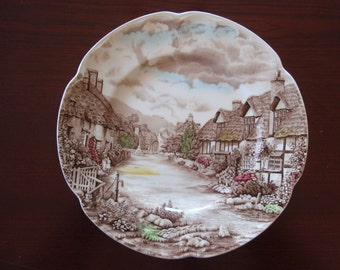 Decorative Plate Olde English Countryside England Johnson Bros Genuine Hand Engraving Collectible China a2227