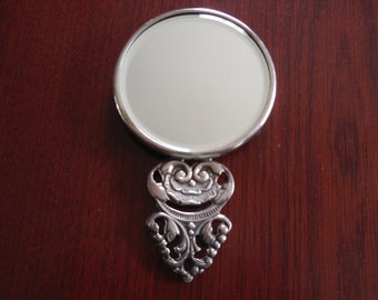 Metal Victorian Style Small Purse Hand Mirror Collectible a1245