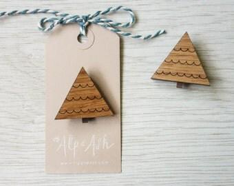 Tree brooch - laser cut walnut and oak wood badge
