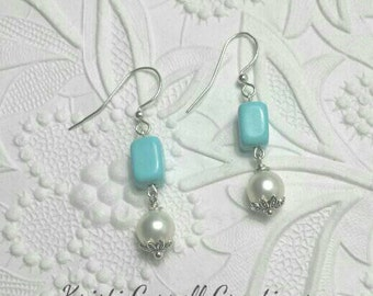 Genuine turquoise and white freshwater pearls, Turquoise and pearl earrings, Pearl and turquoise earrings, Ear candy, Turquoise earrings.