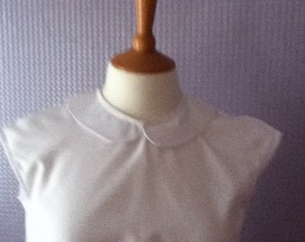 Peter pan collar button back white cap sleeve blouse