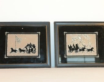TWO – Pair of Stagecoach Silhouettes with Gold Trim  in Original Frames – Reliance – 1940's