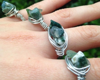 Moss Agate Wire Wrapped Rings