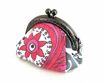 Coin Purse with Kiss Clasp, Metal Frame, Pink Gray Flower Heart Swirl Fabric, Lined Coin Pouch