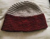 Handmade nalbinding hat light grey red wools pagan viking bronze age