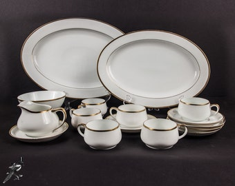 Vintage Dinnerware Set Bone China Gold Trim Paul Muller Selb Bavaria The Baronial Pattern 6 Cups & Saucers, Footed Bowl, Creamer, 2 Platters