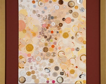 "Original mixed media, Hourglass, abstract, acrylic, buttons, collage, 3-D, texture, multi-color, framed, 11"" x 14""  (27.9 cm x 35.6 cm)"