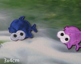 Wholesale Lot 12pcs     blue purple monster fish  iron on patch diy  3x4cm