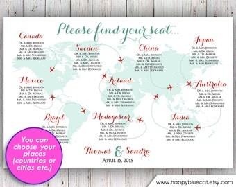 Wedding Seating Chart - RUSH SERVICE - World Map Plane Travel Theme Wedding Seating Chart Reception Poster - Digital Printable File HbC135