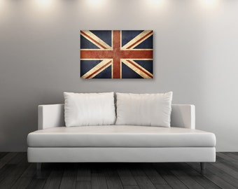 Vintage Great Britain Flag, Union Jack, England, Vintage World Canvas Print, Boys Room, Home Decor, Fine Art Canvas Print [PXCF036-C]