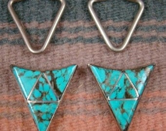 Vintage Zuni Turquoise Inlay Shirt Tips-Item # 744A