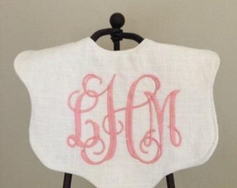 The Caitlyn Scalloped Linen Bib / linen bib / monogrammed / special occasion bib / Baptism bib / Christening bib