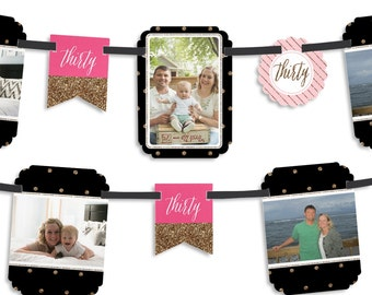 Chic 30th Birthday - Pink, Black, and Gold Party Photo Garland Banner - Custom Birthday Party Decorations
