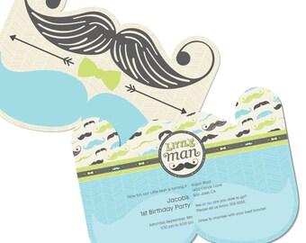 Dashing Little Man Mustache Party Custom Invitations - Printed BIrthday Party Invites - Set of 12