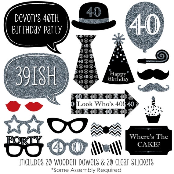 photo prop ideas for adults - 40th Birthday Silver Party Booth Props Adult