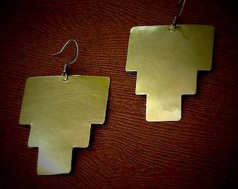 Geometric aztec inspired earings