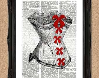 Victorian Corset Print with Red Bows on Vintage Dictionary Paper A074