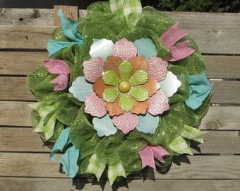 "24"" Spring Deco Mesh Wreath Spring Flower Wreath Tin Flower Wreath Summer Flower Wreath Green Pink Wreath Spring Decor Green Mesh Wreath"