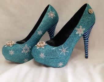 Elsa Custom Rhinestone Glitter Heels/ Wedding/ Prom/ Party/ Cosplay