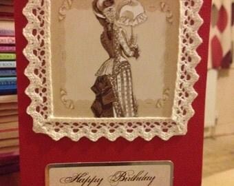 Victorian Lady Birthday Card