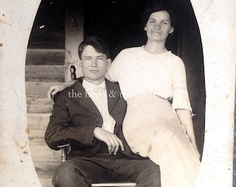 Content Together // Sweet vintage married couple on a rocking chair // antique RPPC postcard young love, vernacular photography