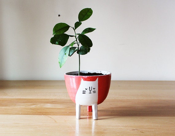 Made to order: Three-legged Cat Planter in Coral Red