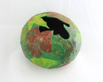 Colorful Leaf Covered Gourd Bowl with Real Leaves