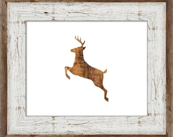 Leaping Wooden Deer Art Print {Digital Artwork Animal Jump Barn Wood Country Woodland Zoo Picture Baby Nursery Man Cave Lodge Cabin Decor}