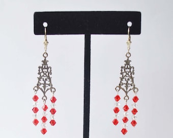 Antique Sterling Silver Floral Filigree 3-Ring Chandelier Earrings with red/clear Swarovski Crystals