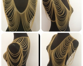 gold body chain, gold vest chain, gold shoulder necklace,noncorroding, stainless,colors fade, wedding jewelry, mk12*