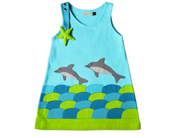 Girl's Dress, DOLPHIN Dress, Beach Dress, Handmade Clothing, Applique Dress, Blue Dress, Dolphin Gift, Beachwear, Vacation Wear
