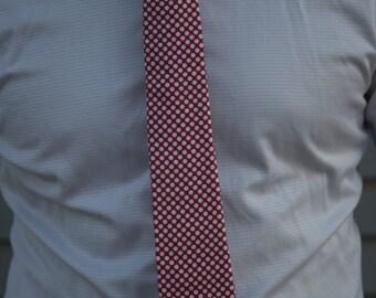 Dark Pink with White Polka Dot Skinny Necktie