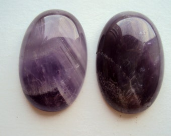 2 Natural Amethyst Cabochons 30x20 mm Oval Amethyst Cabochons Jewelry making Supplies