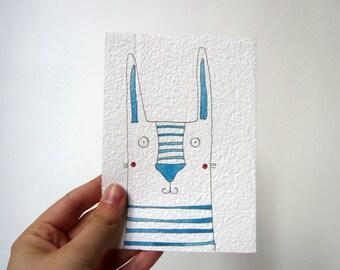 Bunny Artwork / Bunny Original Illustrated Postcard / Rabbit Handmade Card / Nursery Wall Art / Nursery Decor / Woodland Animals: Blue Bunny