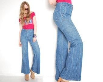 vintage 70s jeans, levis jeans, vintage bell bottoms, levis bell bottoms, hippie jeans, boho jeans, high waist, 70 clothing, 70s levis, S, M
