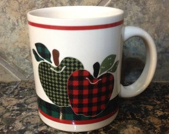 Plaid Apples Coffee Cup Candle You Choose Your Scent and Color!