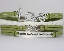 CELIAC Disease Awareness ~BALANCE~  Where There's A Will Charm Lime Green Leather Multilayer Handcrafted Bracelet ilovecheesygrits