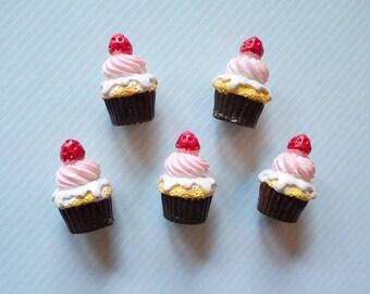 Strawberry Cupcake Cabochon 5pcs - Mini Resin Cupcake